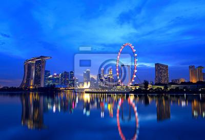 Постер Города и карты Сингапур-город ночью, 29x20 см, на бумагеСингапур<br>Постер на холсте или бумаге. Любого нужного вам размера. В раме или без. Подвес в комплекте. Трехслойная надежная упаковка. Доставим в любую точку России. Вам осталось только повесить картину на стену!<br>