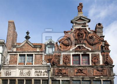 Постер Гент Gent - фасад типичных старых домовГент<br>Постер на холсте или бумаге. Любого нужного вам размера. В раме или без. Подвес в комплекте. Трехслойная надежная упаковка. Доставим в любую точку России. Вам осталось только повесить картину на стену!<br>