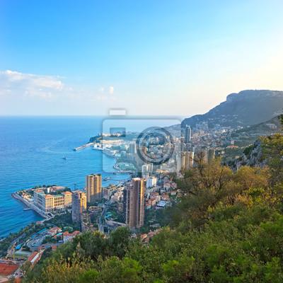 Постер Монако Монако Монте-Карло княжества вид с городской пейзаж закат. АзуМонако<br>Постер на холсте или бумаге. Любого нужного вам размера. В раме или без. Подвес в комплекте. Трехслойная надежная упаковка. Доставим в любую точку России. Вам осталось только повесить картину на стену!<br>