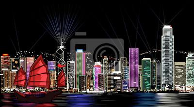 Пейзаж современный городской Векторная иллюстрация Гонконг ночьюПейзаж современный городской<br>Репродукция на холсте или бумаге. Любого нужного вам размера. В раме или без. Подвес в комплекте. Трехслойная надежная упаковка. Доставим в любую точку России. Вам осталось только повесить картину на стену!<br>