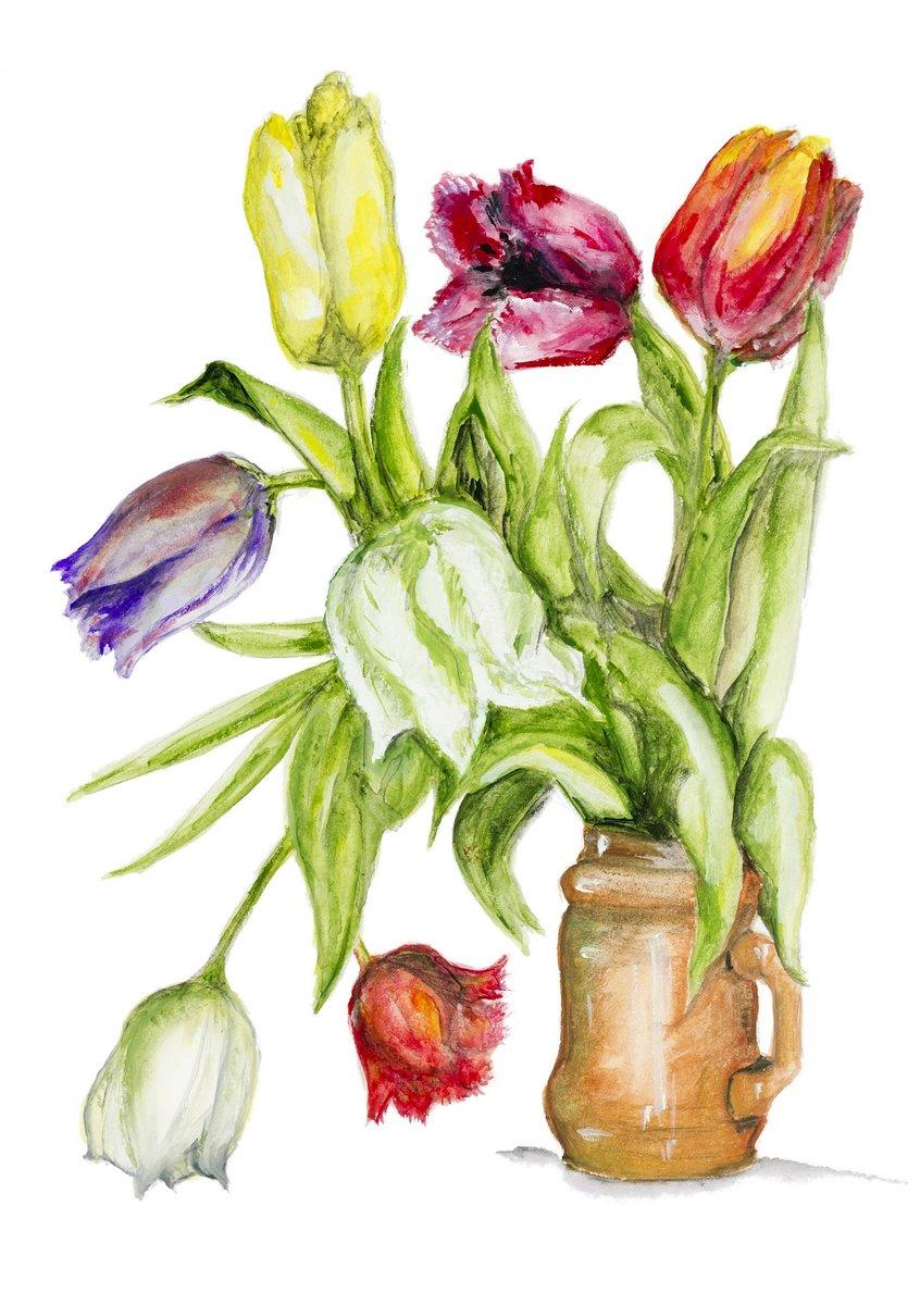 Постер Тюльпаны Тюльпаны цветы в керамический горшок, изолированныеТюльпаны<br>Постер на холсте или бумаге. Любого нужного вам размера. В раме или без. Подвес в комплекте. Трехслойная надежная упаковка. Доставим в любую точку России. Вам осталось только повесить картину на стену!<br>