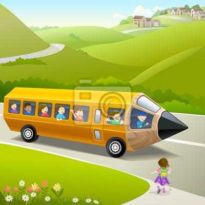 Постер Дизайнерские обои для детской Детей, идущих в Школу, и Карандаш АвтобусДизайнерские обои для детской<br>Постер на холсте или бумаге. Любого нужного вам размера. В раме или без. Подвес в комплекте. Трехслойная надежная упаковка. Доставим в любую точку России. Вам осталось только повесить картину на стену!<br>