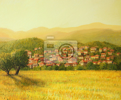 Золотой Сельской Сцене, 24x20 см, на бумагеПейзаж горный в современной живописи<br>Постер на холсте или бумаге. Любого нужного вам размера. В раме или без. Подвес в комплекте. Трехслойная надежная упаковка. Доставим в любую точку России. Вам осталось только повесить картину на стену!<br>