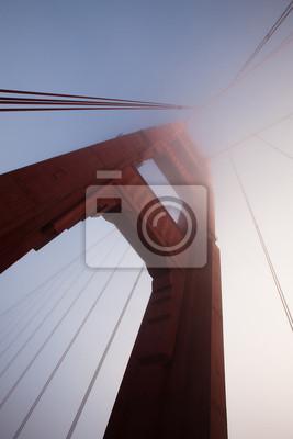 Постер Сан-Франциско Деталь знаменитый Мост  золотые Ворота  в туманеСан-Франциско<br>Постер на холсте или бумаге. Любого нужного вам размера. В раме или без. Подвес в комплекте. Трехслойная надежная упаковка. Доставим в любую точку России. Вам осталось только повесить картину на стену!<br>