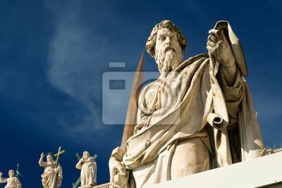 Постер Ватикан Статуя апостола Павла перед базиликой Святого Петра, ВаВатикан<br>Постер на холсте или бумаге. Любого нужного вам размера. В раме или без. Подвес в комплекте. Трехслойная надежная упаковка. Доставим в любую точку России. Вам осталось только повесить картину на стену!<br>
