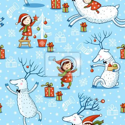 Постер Дизайнерские обои для детской Рождество Цельной картины с девушкой и оленей. Новый Год.Дизайнерские обои для детской<br>Постер на холсте или бумаге. Любого нужного вам размера. В раме или без. Подвес в комплекте. Трехслойная надежная упаковка. Доставим в любую точку России. Вам осталось только повесить картину на стену!<br>