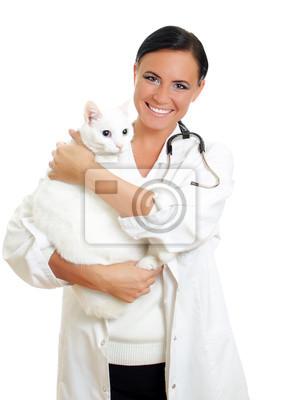 Постер Медицина Ветеринар с кошкой на руках. Изолированные на белом.Медицина<br>Постер на холсте или бумаге. Любого нужного вам размера. В раме или без. Подвес в комплекте. Трехслойная надежная упаковка. Доставим в любую точку России. Вам осталось только повесить картину на стену!<br>