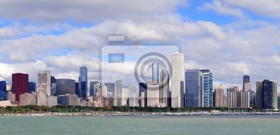 Постер Чикаго Чикаго горизонта над Озером МичиганЧикаго<br>Постер на холсте или бумаге. Любого нужного вам размера. В раме или без. Подвес в комплекте. Трехслойная надежная упаковка. Доставим в любую точку России. Вам осталось только повесить картину на стену!<br>