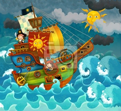 Постер Пираты на море - иллюстрации для детейПираты<br>Постер на холсте или бумаге. Любого нужного вам размера. В раме или без. Подвес в комплекте. Трехслойная надежная упаковка. Доставим в любую точку России. Вам осталось только повесить картину на стену!<br>