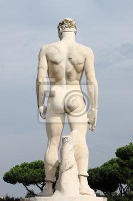 Постер Города и карты Мужественный статуя в Шарики Стадион Рима, Италия, 20x30 см, на бумагеРим<br>Постер на холсте или бумаге. Любого нужного вам размера. В раме или без. Подвес в комплекте. Трехслойная надежная упаковка. Доставим в любую точку России. Вам осталось только повесить картину на стену!<br>