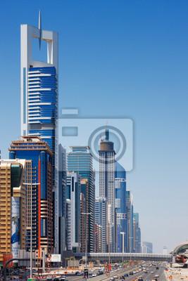 Постер Дубай Sheikh Zayed Road сочетается с небоскребами для мильДубай<br>Постер на холсте или бумаге. Любого нужного вам размера. В раме или без. Подвес в комплекте. Трехслойная надежная упаковка. Доставим в любую точку России. Вам осталось только повесить картину на стену!<br>
