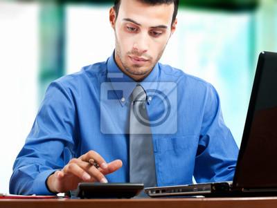 Постер Банк, финансовое учреждение Бизнес-человека, работающего с ноутбуком и калькулятор в офисБанк, финансовое учреждение<br>Постер на холсте или бумаге. Любого нужного вам размера. В раме или без. Подвес в комплекте. Трехслойная надежная упаковка. Доставим в любую точку России. Вам осталось только повесить картину на стену!<br>
