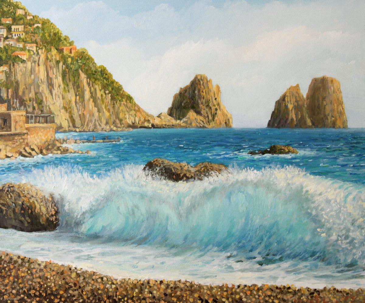 Средиземноморье, современный пейзаж Фаральони на острове КаприСредиземноморье, современный пейзаж<br>Репродукция на холсте или бумаге. Любого нужного вам размера. В раме или без. Подвес в комплекте. Трехслойная надежная упаковка. Доставим в любую точку России. Вам осталось только повесить картину на стену!<br>