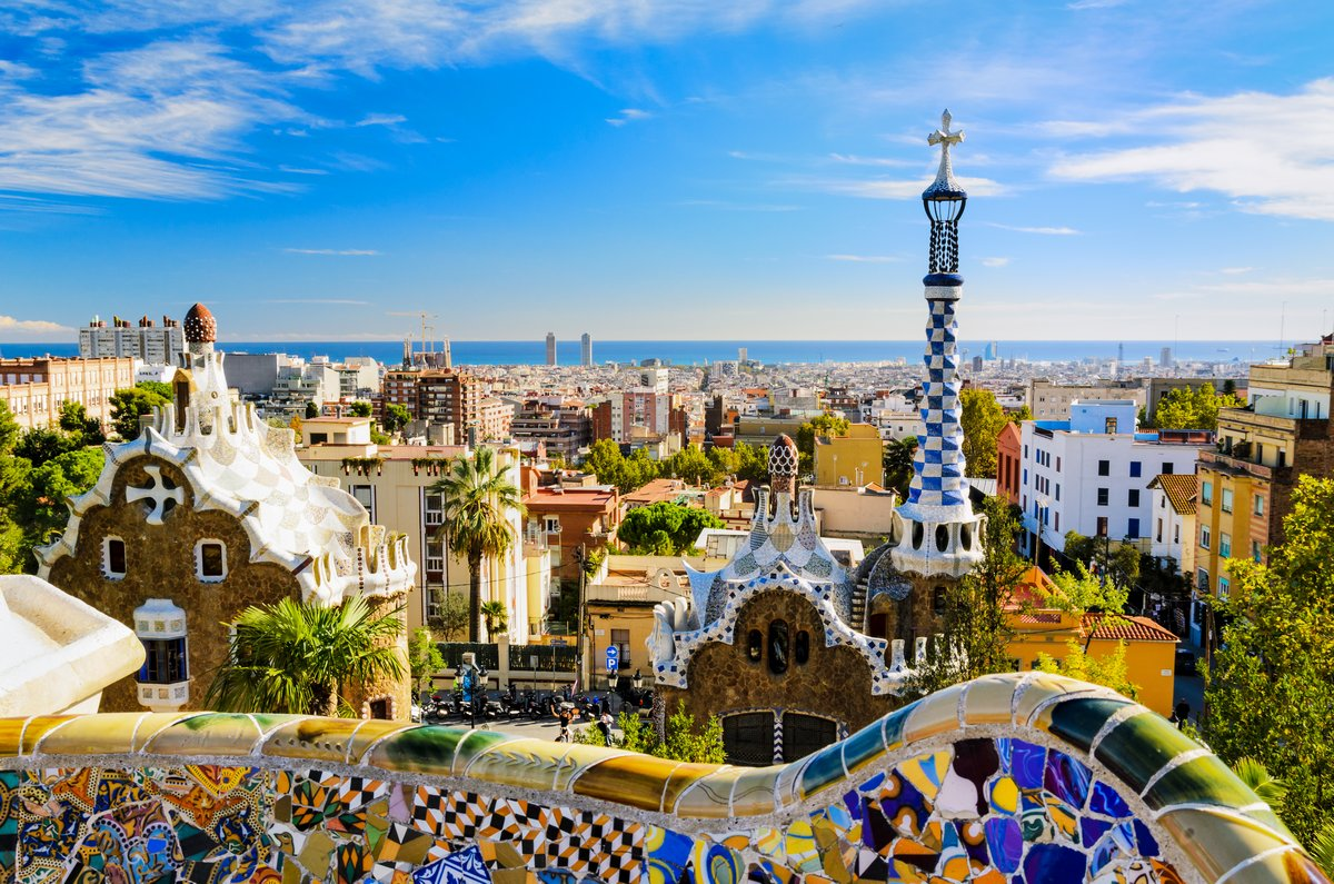 Постер Барселона Парк Гуэль в Барселона, ИспанияБарселона<br>Постер на холсте или бумаге. Любого нужного вам размера. В раме или без. Подвес в комплекте. Трехслойная надежная упаковка. Доставим в любую точку России. Вам осталось только повесить картину на стену!<br>