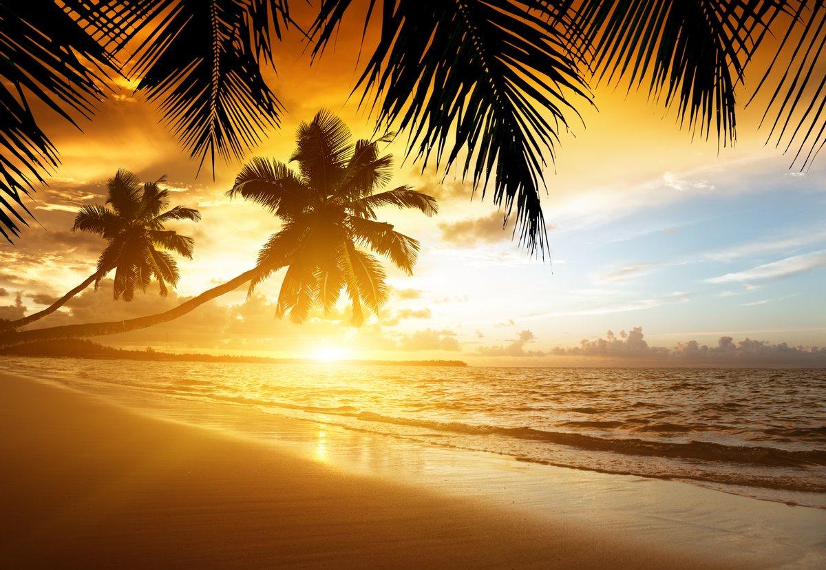 Постер Рассвет Закат на пляже Карибского моряРассвет<br>Постер на холсте или бумаге. Любого нужного вам размера. В раме или без. Подвес в комплекте. Трехслойная надежная упаковка. Доставим в любую точку России. Вам осталось только повесить картину на стену!<br>