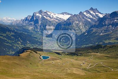 Постер Альпийский пейзаж ГриндельвальдАльпийский пейзаж<br>Постер на холсте или бумаге. Любого нужного вам размера. В раме или без. Подвес в комплекте. Трехслойная надежная упаковка. Доставим в любую точку России. Вам осталось только повесить картину на стену!<br>