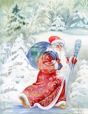Дед Мороз поздравляет всех с Новым Годом и Рождеством, 20x26 см, на бумаге11.18 День рождения Деда Мороза<br>Постер на холсте или бумаге. Любого нужного вам размера. В раме или без. Подвес в комплекте. Трехслойная надежная упаковка. Доставим в любую точку России. Вам осталось только повесить картину на стену!<br>