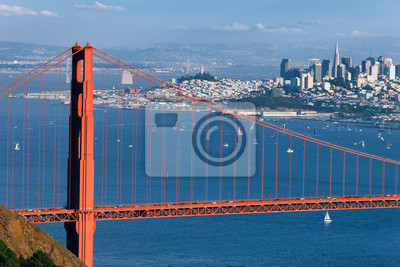 Постер Сан-Франциско Часть Мост золотые ВоротаСан-Франциско<br>Постер на холсте или бумаге. Любого нужного вам размера. В раме или без. Подвес в комплекте. Трехслойная надежная упаковка. Доставим в любую точку России. Вам осталось только повесить картину на стену!<br>