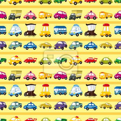 Постер Дизайнерские обои для детской Бесшовные автомобилей шаблонДизайнерские обои для детской<br>Постер на холсте или бумаге. Любого нужного вам размера. В раме или без. Подвес в комплекте. Трехслойная надежная упаковка. Доставим в любую точку России. Вам осталось только повесить картину на стену!<br>