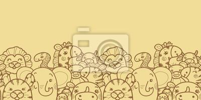 """Постер Дизайнерские обои для детской """"Диких животных вектор горизонтальной бесшовных узор фона"""""""