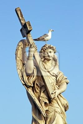 Постер Ватикан Мраморная статуя Ангела в Риме, с крестом и ЧайкаВатикан<br>Постер на холсте или бумаге. Любого нужного вам размера. В раме или без. Подвес в комплекте. Трехслойная надежная упаковка. Доставим в любую точку России. Вам осталось только повесить картину на стену!<br>