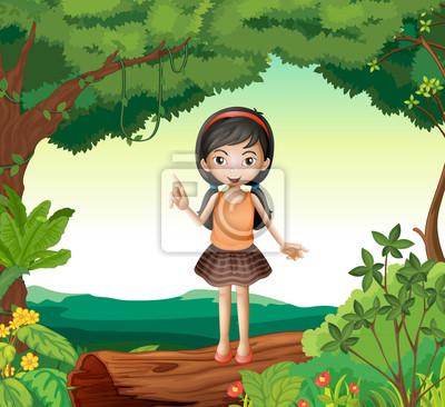 Постер Оформление детской Девушка, стоя на дерево в природе, 22x20 см, на бумагеРазные детские постеры<br>Постер на холсте или бумаге. Любого нужного вам размера. В раме или без. Подвес в комплекте. Трехслойная надежная упаковка. Доставим в любую точку России. Вам осталось только повесить картину на стену!<br>