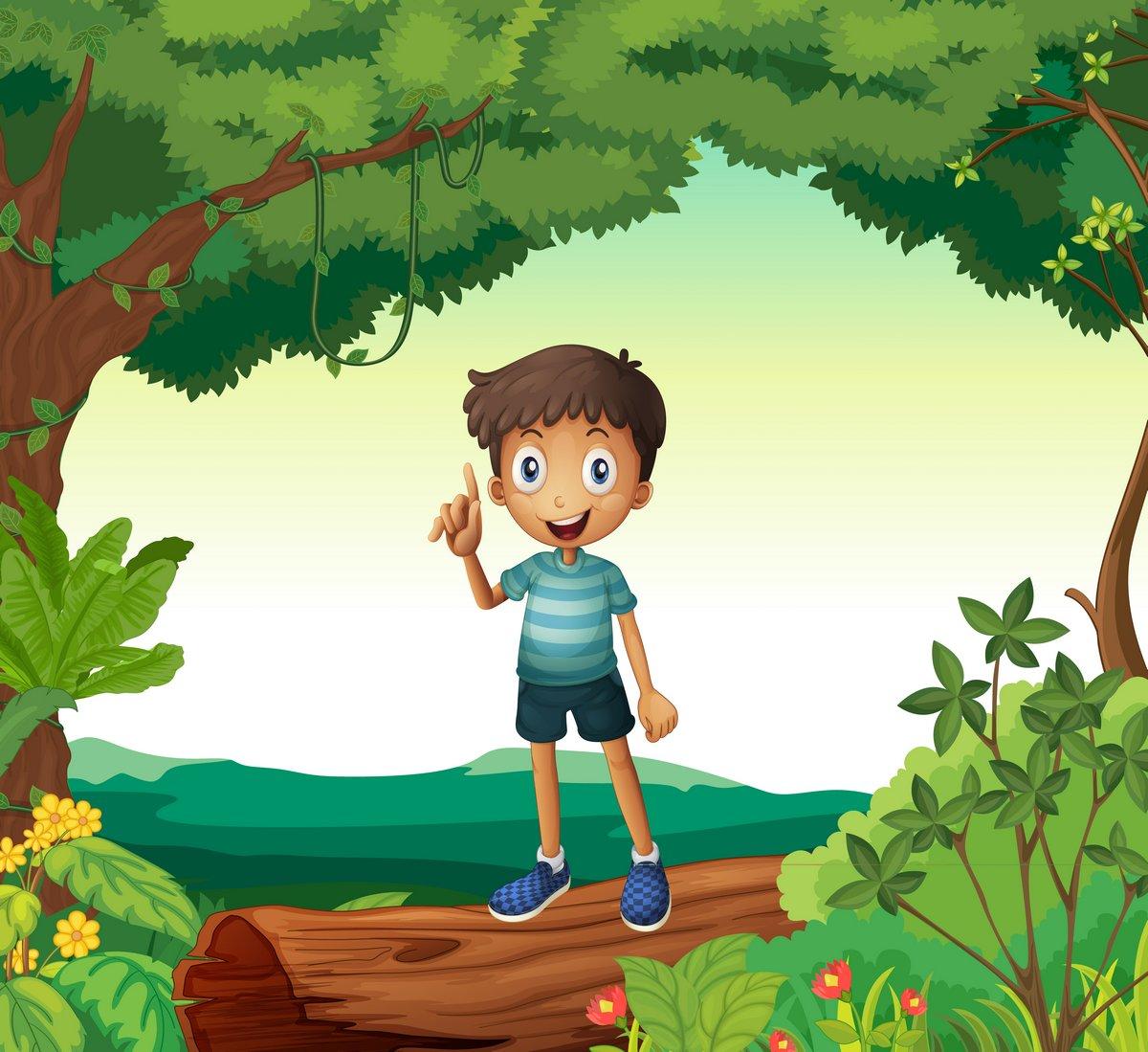 Постер Разные детские постеры Мальчик стоит на дерево в природеРазные детские постеры<br>Постер на холсте или бумаге. Любого нужного вам размера. В раме или без. Подвес в комплекте. Трехслойная надежная упаковка. Доставим в любую точку России. Вам осталось только повесить картину на стену!<br>