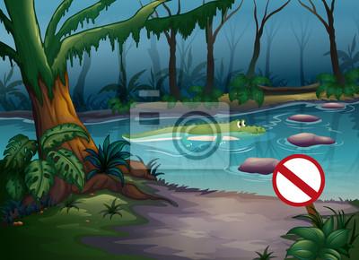 Постер Разные детские постеры Крокодилов в джунгляхРазные детские постеры<br>Постер на холсте или бумаге. Любого нужного вам размера. В раме или без. Подвес в комплекте. Трехслойная надежная упаковка. Доставим в любую точку России. Вам осталось только повесить картину на стену!<br>
