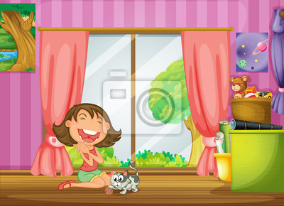 Постер Разные детские постеры Девушка и ее КотРазные детские постеры<br>Постер на холсте или бумаге. Любого нужного вам размера. В раме или без. Подвес в комплекте. Трехслойная надежная упаковка. Доставим в любую точку России. Вам осталось только повесить картину на стену!<br>