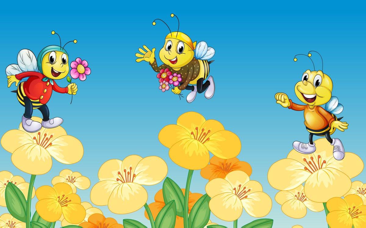 Постер Разные детские постеры Пчелы и цветыРазные детские постеры<br>Постер на холсте или бумаге. Любого нужного вам размера. В раме или без. Подвес в комплекте. Трехслойная надежная упаковка. Доставим в любую точку России. Вам осталось только повесить картину на стену!<br>
