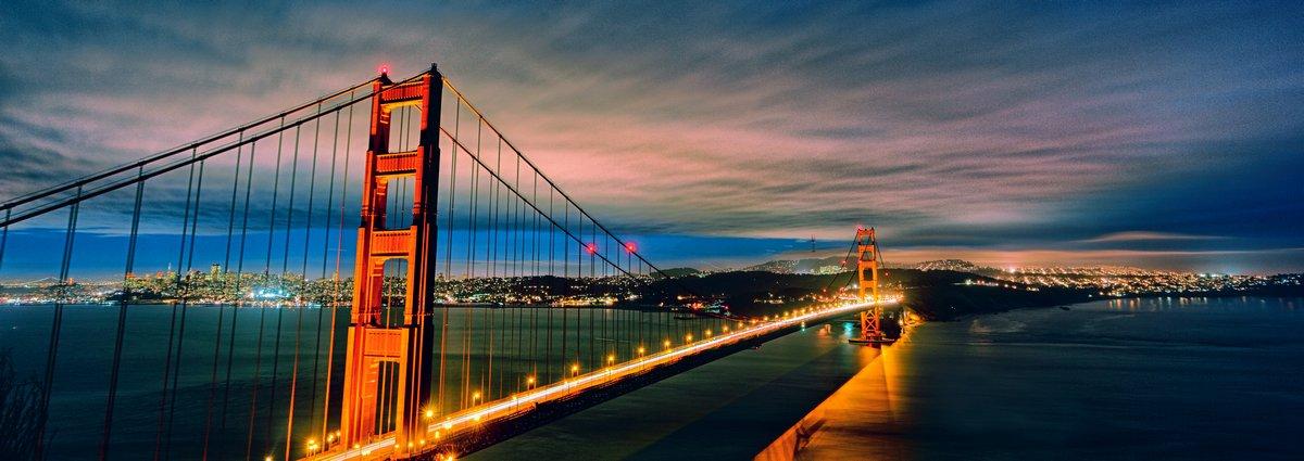 Панорамный вид на Мост золотые Ворота на ночь, 56x20 см, на бумагеСан-Франциско<br>Постер на холсте или бумаге. Любого нужного вам размера. В раме или без. Подвес в комплекте. Трехслойная надежная упаковка. Доставим в любую точку России. Вам осталось только повесить картину на стену!<br>