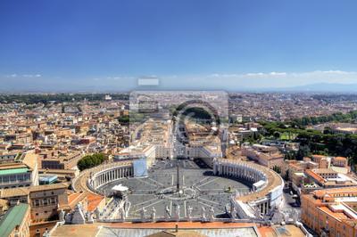 Постер Ватикан Панорамный вид на St Peters Площади. Рома (Рим), ИталияВатикан<br>Постер на холсте или бумаге. Любого нужного вам размера. В раме или без. Подвес в комплекте. Трехслойная надежная упаковка. Доставим в любую точку России. Вам осталось только повесить картину на стену!<br>