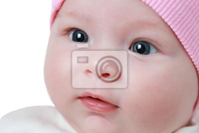 Постер Милый новорожденный младенец, девочка с голубыми глазами изолированныеДети<br>Постер на холсте или бумаге. Любого нужного вам размера. В раме или без. Подвес в комплекте. Трехслойная надежная упаковка. Доставим в любую точку России. Вам осталось только повесить картину на стену!<br>