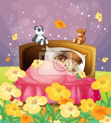 Постер Разные детские постеры Девушка спал в ее постелиРазные детские постеры<br>Постер на холсте или бумаге. Любого нужного вам размера. В раме или без. Подвес в комплекте. Трехслойная надежная упаковка. Доставим в любую точку России. Вам осталось только повесить картину на стену!<br>
