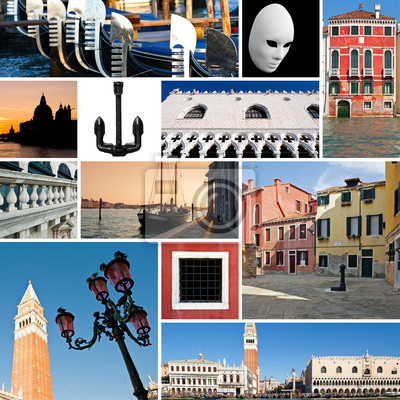 Постер Венеция Коллаж из изображений, Венеция, Италия.Венеция<br>Постер на холсте или бумаге. Любого нужного вам размера. В раме или без. Подвес в комплекте. Трехслойная надежная упаковка. Доставим в любую точку России. Вам осталось только повесить картину на стену!<br>