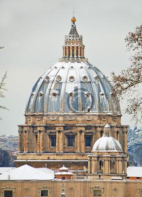 Постер Ватикан Базилика Святого Петра после снегопада в Риме зимой 2012 годаВатикан<br>Постер на холсте или бумаге. Любого нужного вам размера. В раме или без. Подвес в комплекте. Трехслойная надежная упаковка. Доставим в любую точку России. Вам осталось только повесить картину на стену!<br>