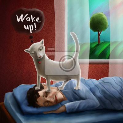 Постер Кошки Кошка пробуждения спящего человека утромКошки<br>Постер на холсте или бумаге. Любого нужного вам размера. В раме или без. Подвес в комплекте. Трехслойная надежная упаковка. Доставим в любую точку России. Вам осталось только повесить картину на стену!<br>