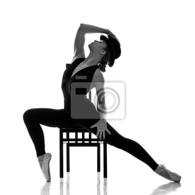 Современная молодая балерина позирует на стуле, 20x20 см, на бумагеТанец<br>Постер на холсте или бумаге. Любого нужного вам размера. В раме или без. Подвес в комплекте. Трехслойная надежная упаковка. Доставим в любую точку России. Вам осталось только повесить картину на стену!<br>