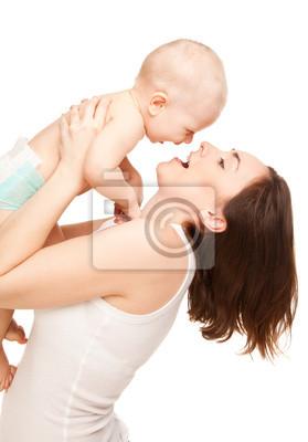 Постер Картина счастливой матери с прелестный ребенокДети<br>Постер на холсте или бумаге. Любого нужного вам размера. В раме или без. Подвес в комплекте. Трехслойная надежная упаковка. Доставим в любую точку России. Вам осталось только повесить картину на стену!<br>