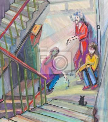 Постер Современный городской пейзаж На лестничной площадкеСовременный городской пейзаж<br>Постер на холсте или бумаге. Любого нужного вам размера. В раме или без. Подвес в комплекте. Трехслойная надежная упаковка. Доставим в любую точку России. Вам осталось только повесить картину на стену!<br>