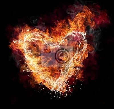Постер Огонь Вода и огонь форме сердца на черном фонеОгонь<br>Постер на холсте или бумаге. Любого нужного вам размера. В раме или без. Подвес в комплекте. Трехслойная надежная упаковка. Доставим в любую точку России. Вам осталось только повесить картину на стену!<br>