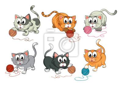 Постер Разные детские постеры Кошки играют с шерстиРазные детские постеры<br>Постер на холсте или бумаге. Любого нужного вам размера. В раме или без. Подвес в комплекте. Трехслойная надежная упаковка. Доставим в любую точку России. Вам осталось только повесить картину на стену!<br>