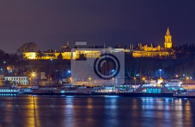 Вид ночного Topkapi Palace, Стамбул, Турция, 31x20 см, на бумагеСтамбул<br>Постер на холсте или бумаге. Любого нужного вам размера. В раме или без. Подвес в комплекте. Трехслойная надежная упаковка. Доставим в любую точку России. Вам осталось только повесить картину на стену!<br>