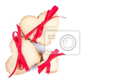 Сердце в форме  cookie, перевязанных лентой, 30x20 см, на бумагеДесерт<br>Постер на холсте или бумаге. Любого нужного вам размера. В раме или без. Подвес в комплекте. Трехслойная надежная упаковка. Доставим в любую точку России. Вам осталось только повесить картину на стену!<br>