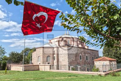 Ku?uk Ayasofya Мечеть и турецким флагом в Стамбул, Турция, 30x20 см, на бумагеСтамбул<br>Постер на холсте или бумаге. Любого нужного вам размера. В раме или без. Подвес в комплекте. Трехслойная надежная упаковка. Доставим в любую точку России. Вам осталось только повесить картину на стену!<br>