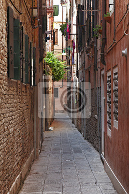Постер Венеция Узкая улочка в ВенецииВенеция<br>Постер на холсте или бумаге. Любого нужного вам размера. В раме или без. Подвес в комплекте. Трехслойная надежная упаковка. Доставим в любую точку России. Вам осталось только повесить картину на стену!<br>