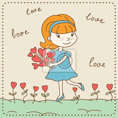 Постер Дизайнерские обои для детской Винтаж день Святого Валентина карта девушка с сердца.Дизайнерские обои для детской<br>Постер на холсте или бумаге. Любого нужного вам размера. В раме или без. Подвес в комплекте. Трехслойная надежная упаковка. Доставим в любую точку России. Вам осталось только повесить картину на стену!<br>