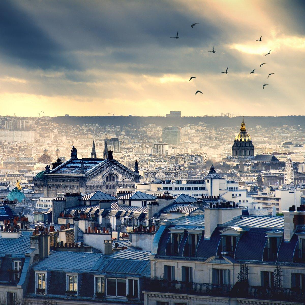 Постер Франция Париж город взят от МонмартраФранция<br>Постер на холсте или бумаге. Любого нужного вам размера. В раме или без. Подвес в комплекте. Трехслойная надежная упаковка. Доставим в любую точку России. Вам осталось только повесить картину на стену!<br>