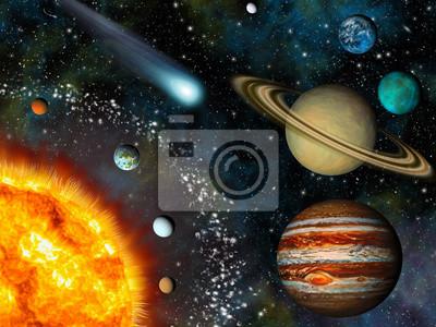 Постер Космос детям Реалистичная 3D обои Солнечной СистемыКосмос детям<br>Постер на холсте или бумаге. Любого нужного вам размера. В раме или без. Подвес в комплекте. Трехслойная надежная упаковка. Доставим в любую точку России. Вам осталось только повесить картину на стену!<br>