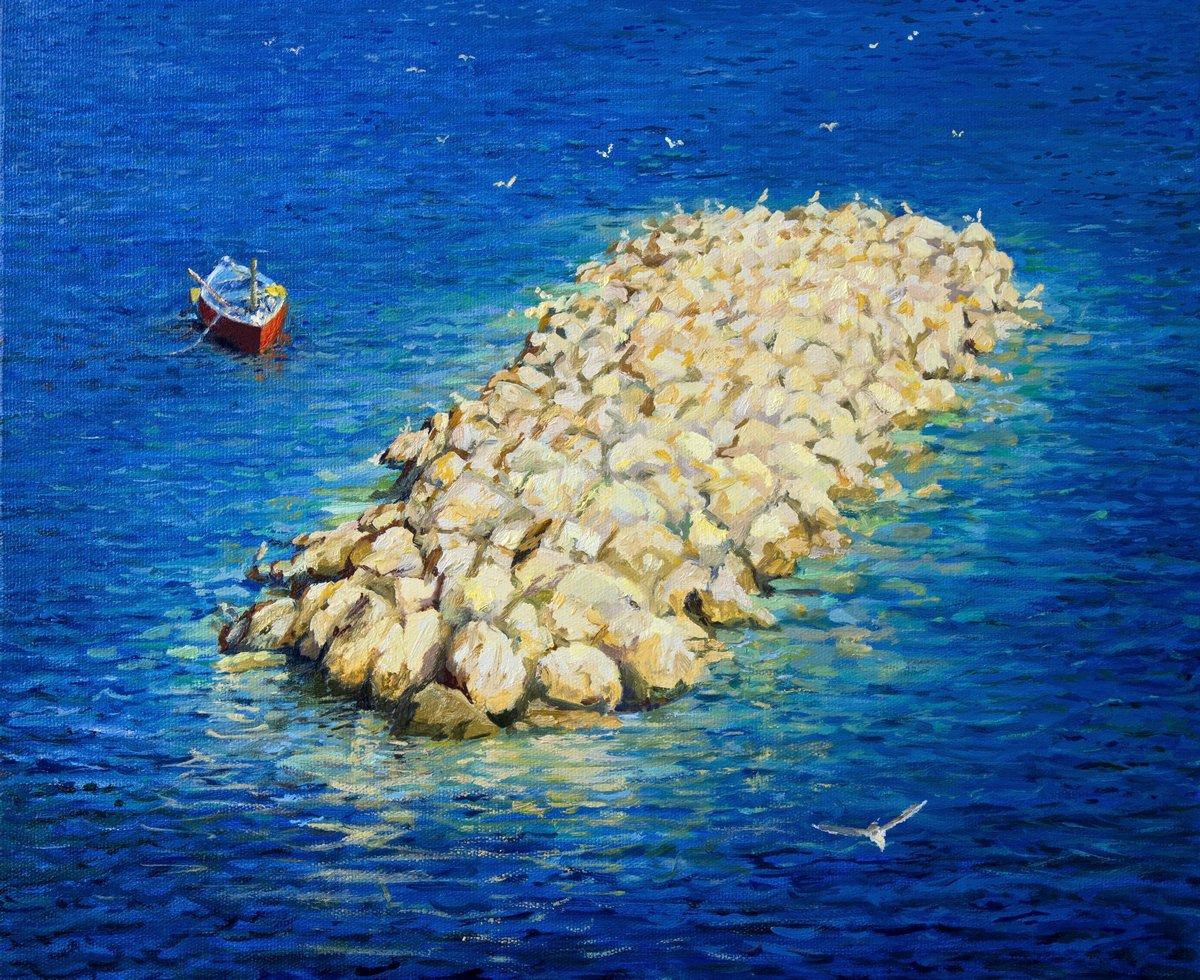 Пейзаж современный морской Мгновение вечностиПейзаж современный морской<br>Репродукция на холсте или бумаге. Любого нужного вам размера. В раме или без. Подвес в комплекте. Трехслойная надежная упаковка. Доставим в любую точку России. Вам осталось только повесить картину на стену!<br>